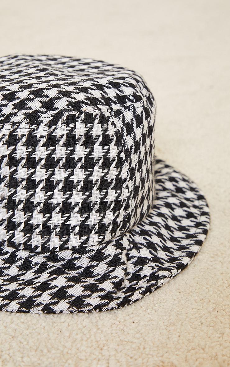 White Houndstooth Bucket Hat 3