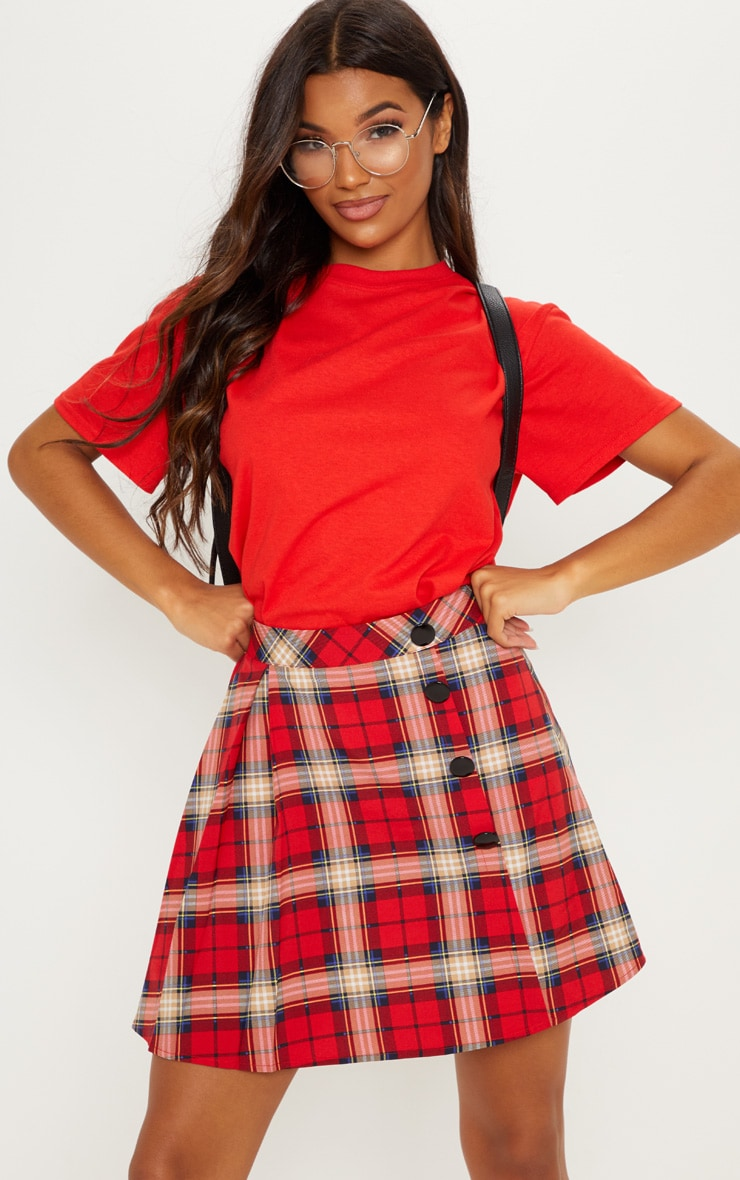 Red Tartan Pleated Button Mini Skirt 5