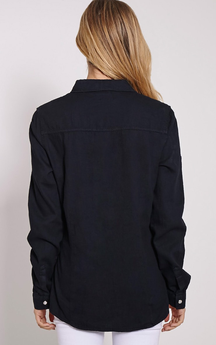 Eedie Black Fitted Denim Shirt 2