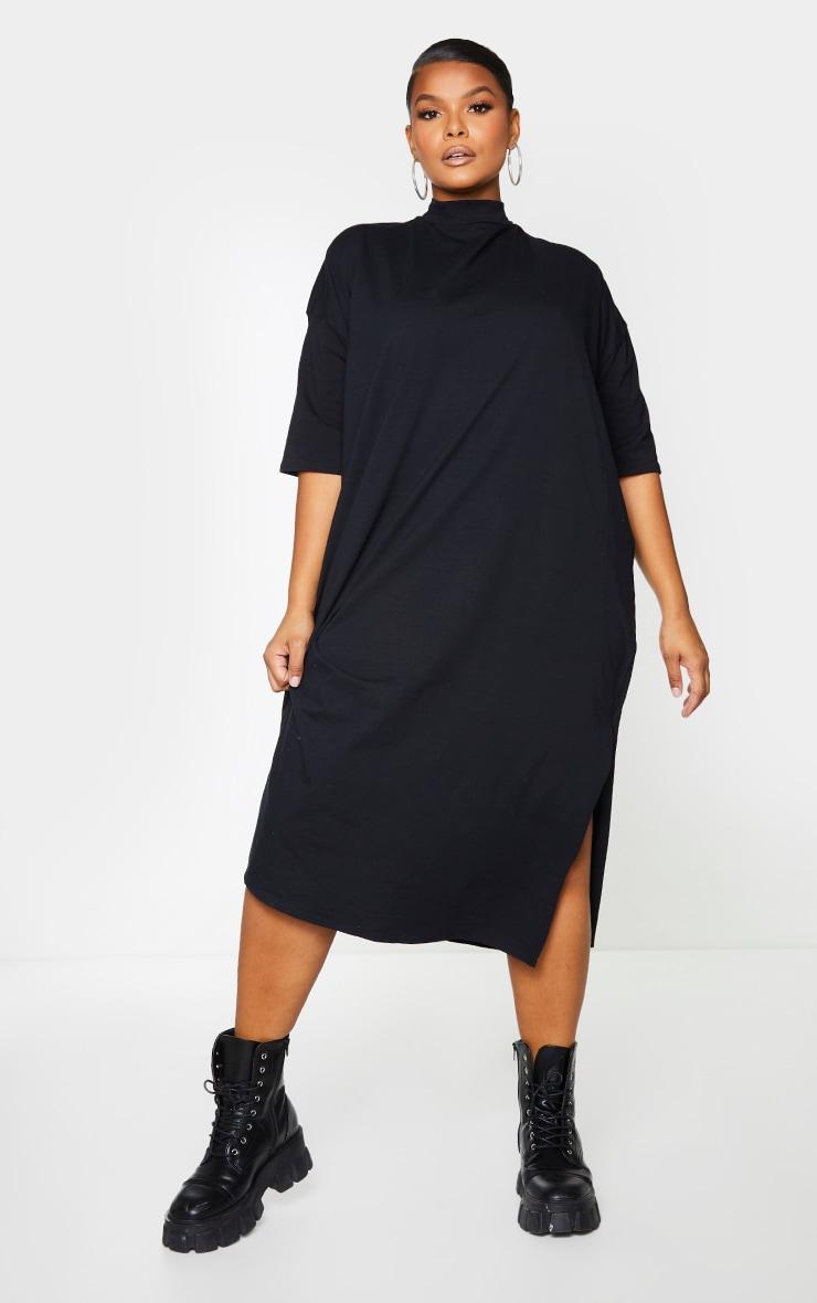 Plus Black Oversized Midi T Shirt Dress 3