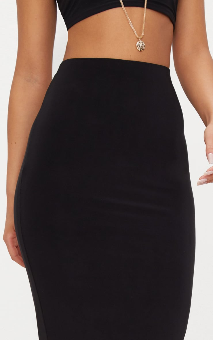 Black Second Skin Slinky Longline Midaxi Skirt  5
