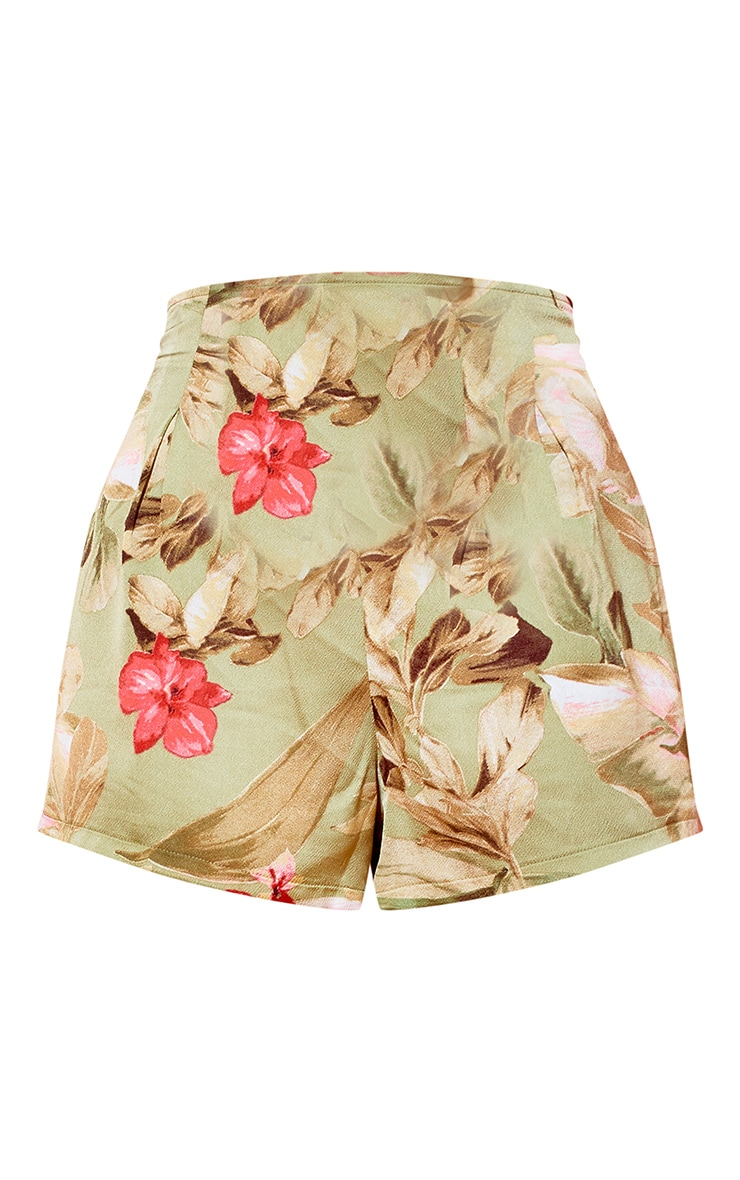 Sage Green Satin Floral Floaty Shorts 6