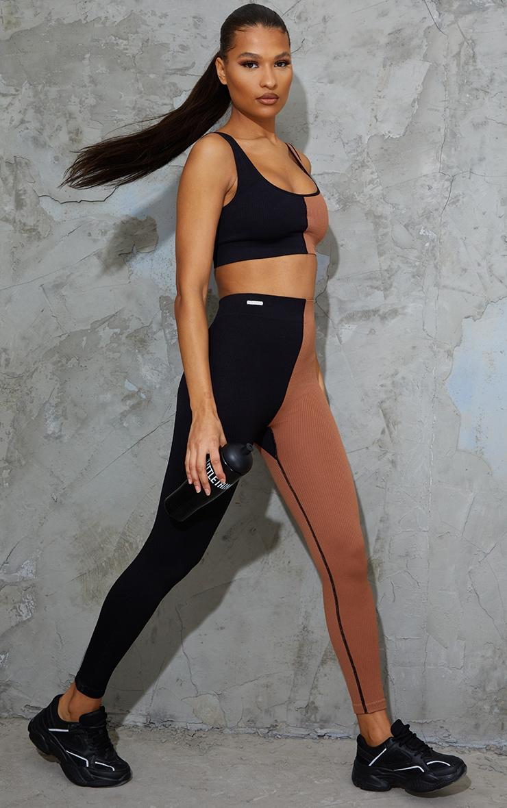 Nude 2 Colour Block Soft Rib Gym Leggings 1