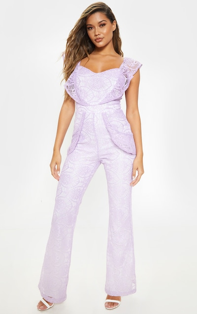e82a0adfc96 Lilac Lace Frill Detail Sweetheart Neckline Jumpsuit