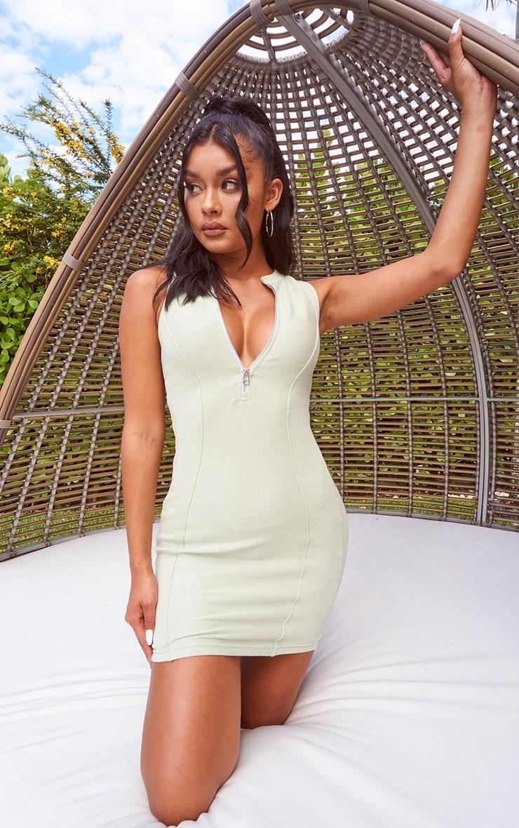 Sage Green Thick Rib Contour Detail Zip Neck Bodycon Dress 1