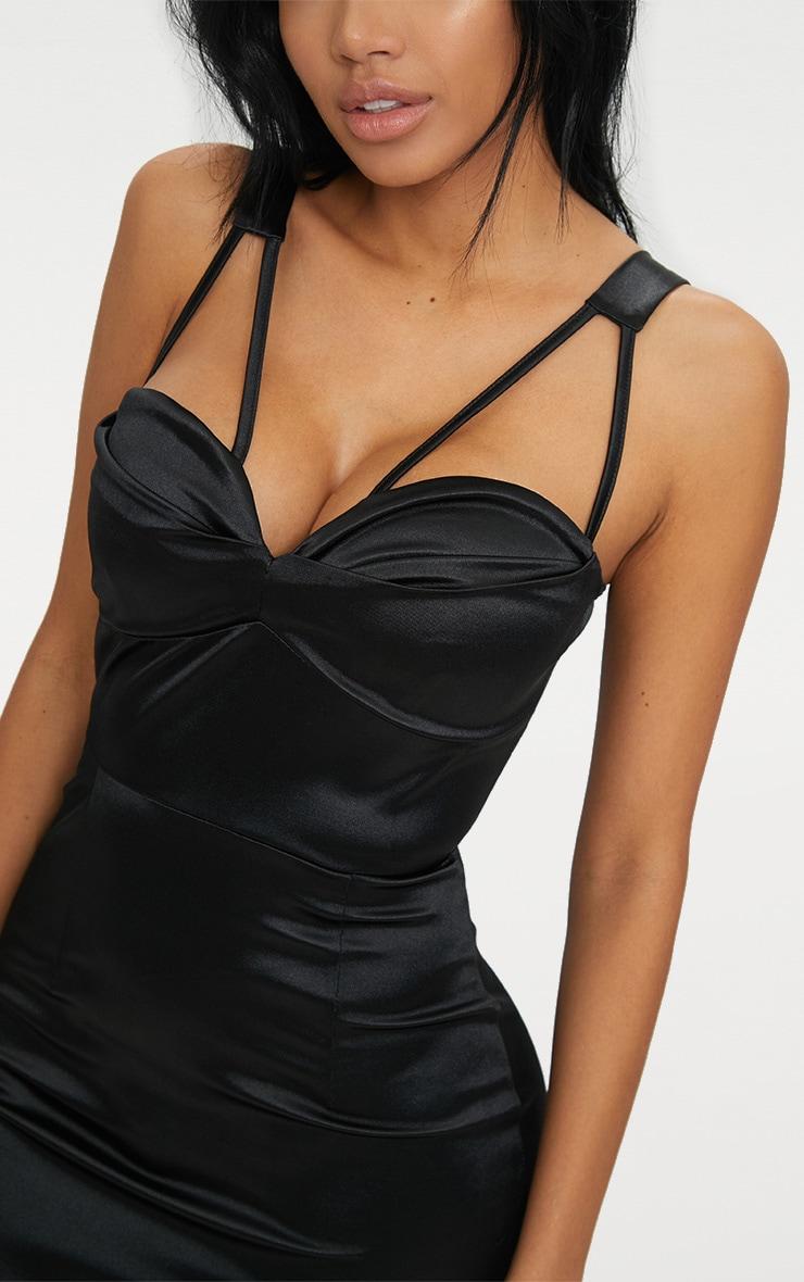 Black Strappy Folded Detail Midi Dress  5