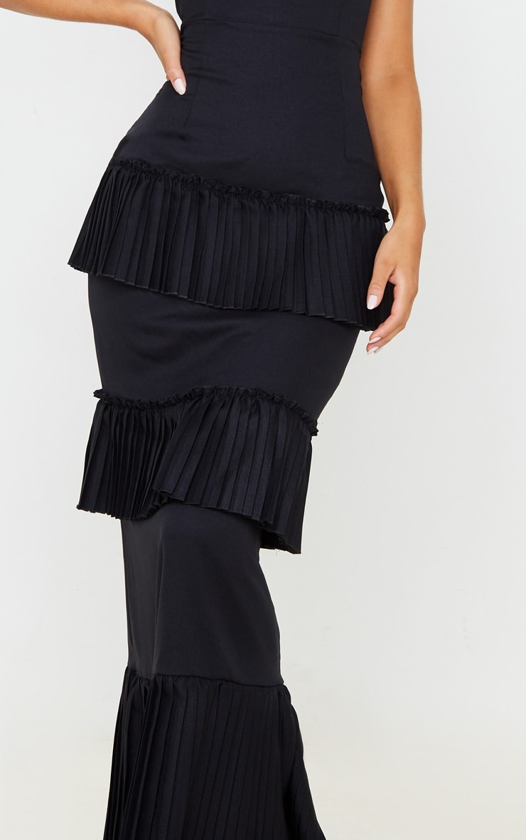Black Pleated Tiered Bandeau Maxi Dress 5