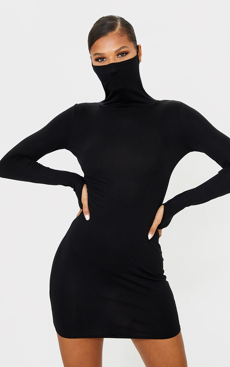 Black Jersey Long Sleeve Mask Bodycon Dress 3