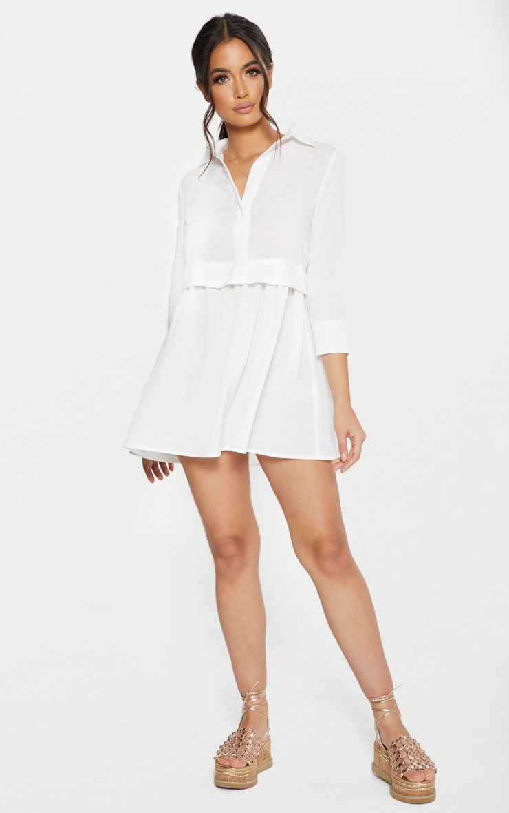 White Layer Shirt Dress 4