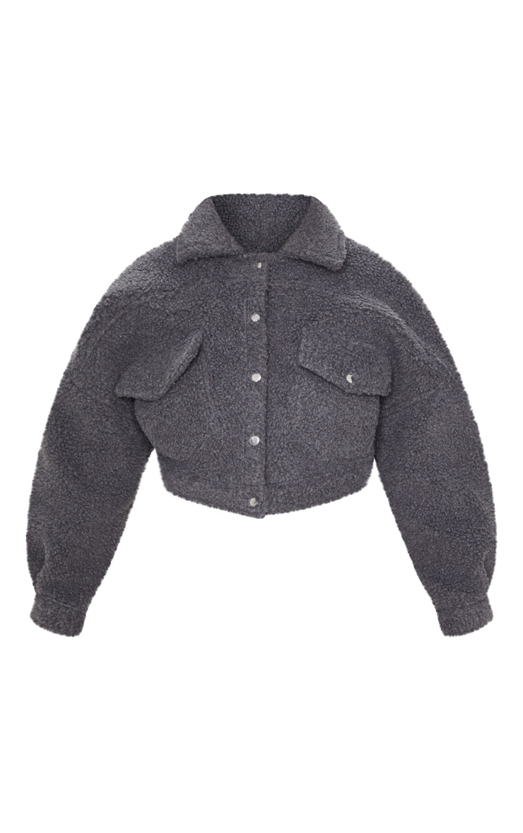 Charcoal Borg Cropped Trucker Jacket 3