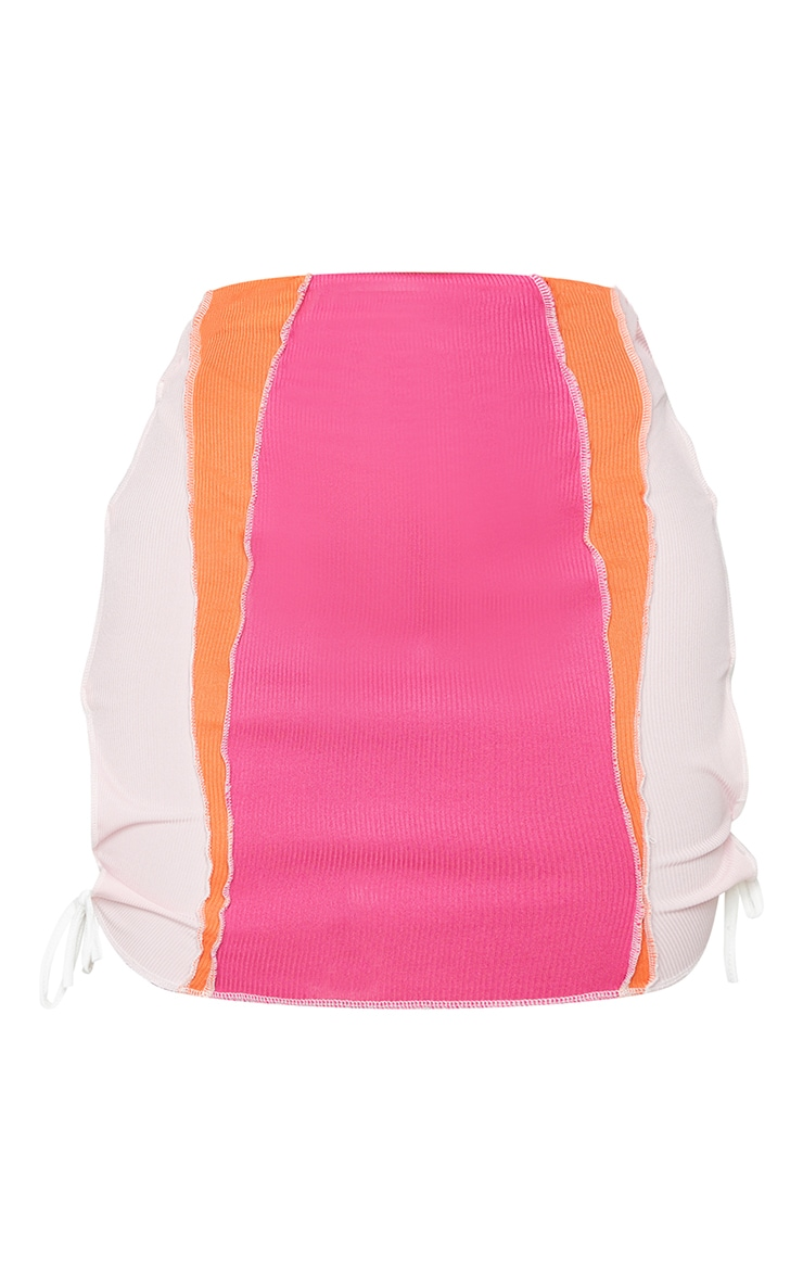 Shape Hot Pink Rib Panel Overlock Lace Up Side Bodycon Skirt 6