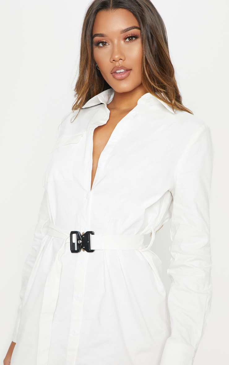 White Clasp Detail Buckle Cargo Shirt Dress 5