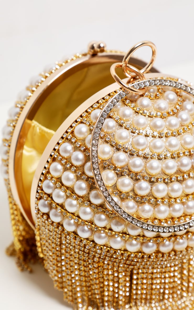 Gold Diamante And Pearl Large Sphere Bag 4