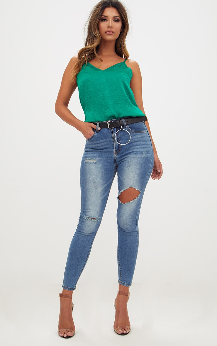 Mid Wash Open Thigh Skinny Jean 1