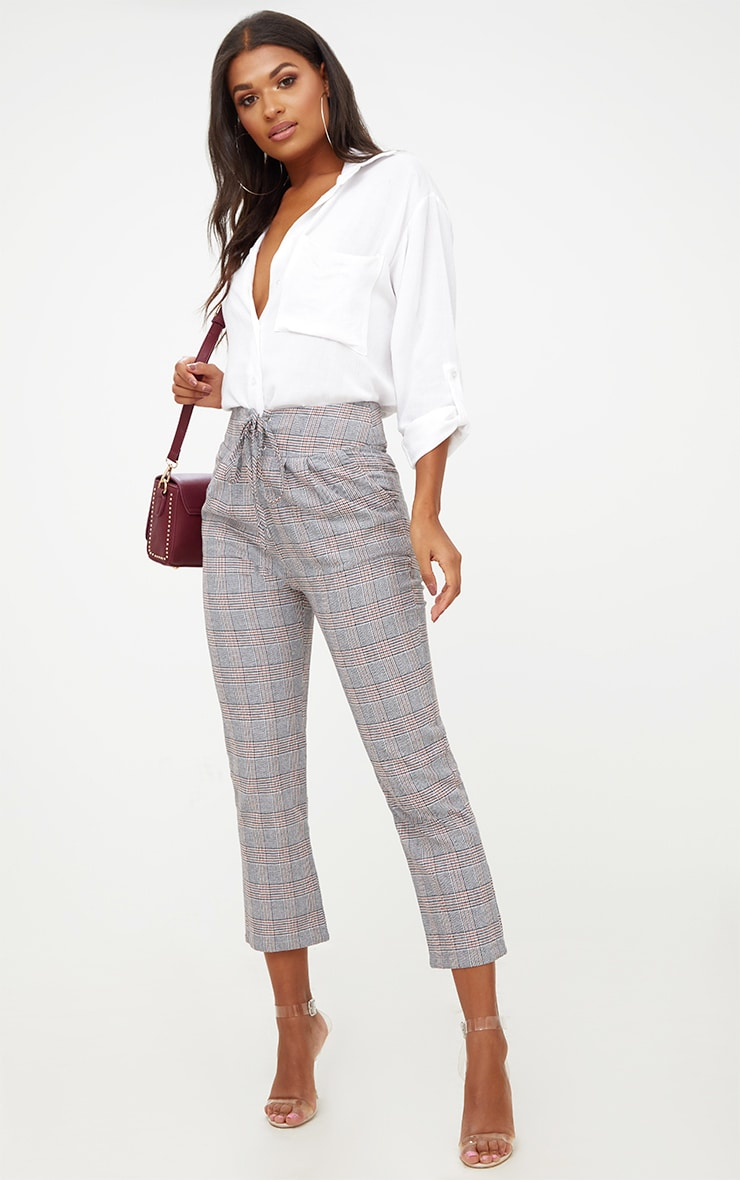 Grey Check Corset Waist Trousers 1