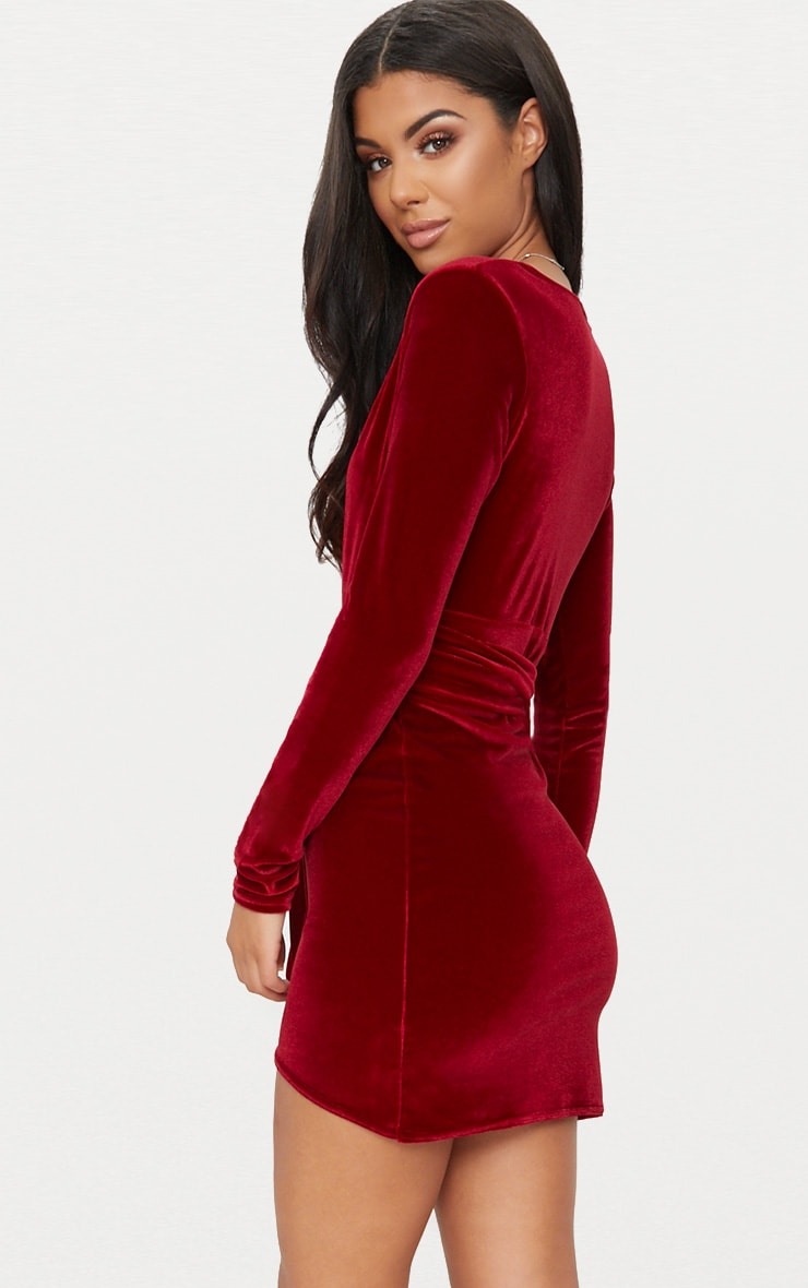 Burgundy Plunge Wrap Detail Long Sleeve Mini Dress 2