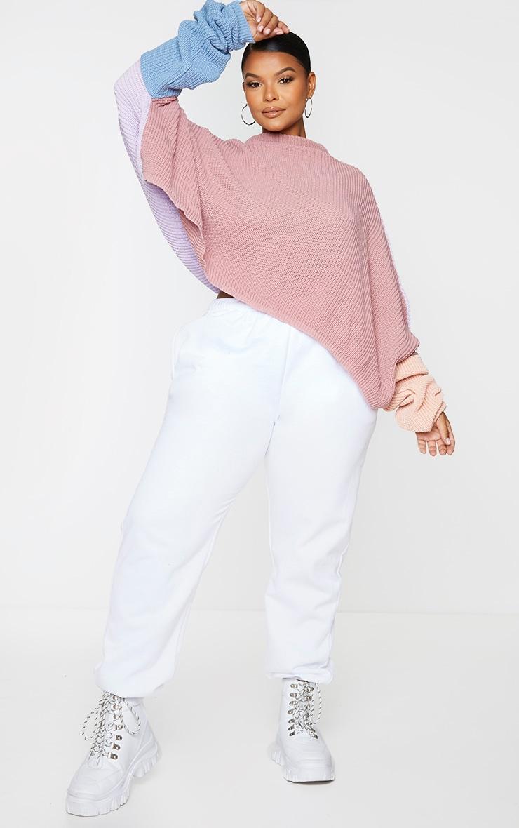 Plus Pink Oversized Colour Block Jumper 3