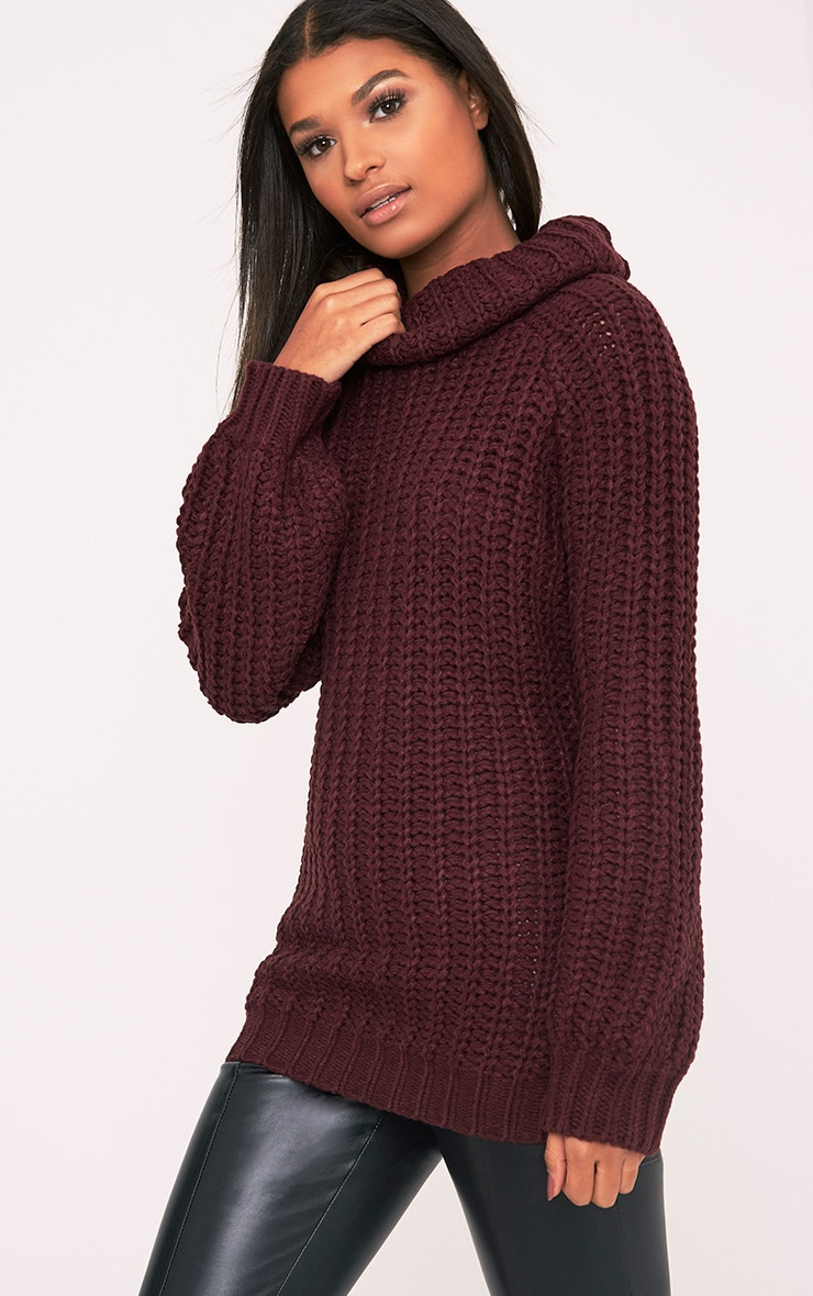 Shainel Burgundy Roll Neck Chunky Knit Jumper 4