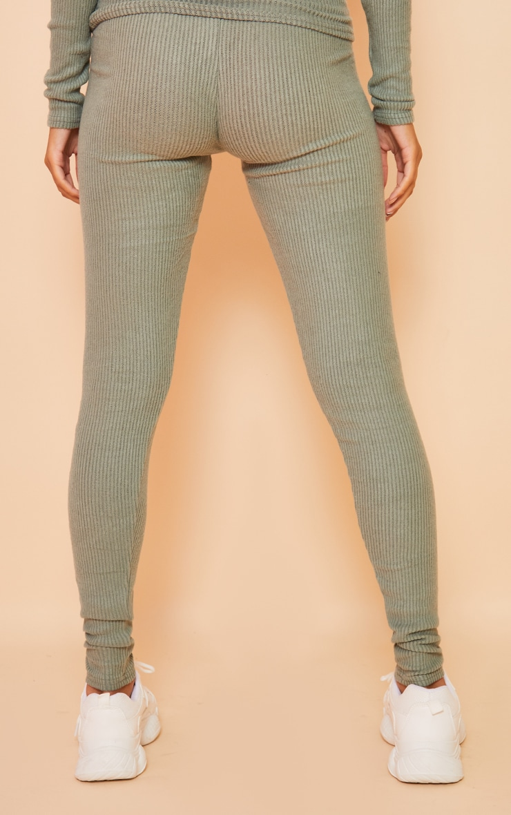 Maternity Sage Green Brushed High Waisted Leggings 3