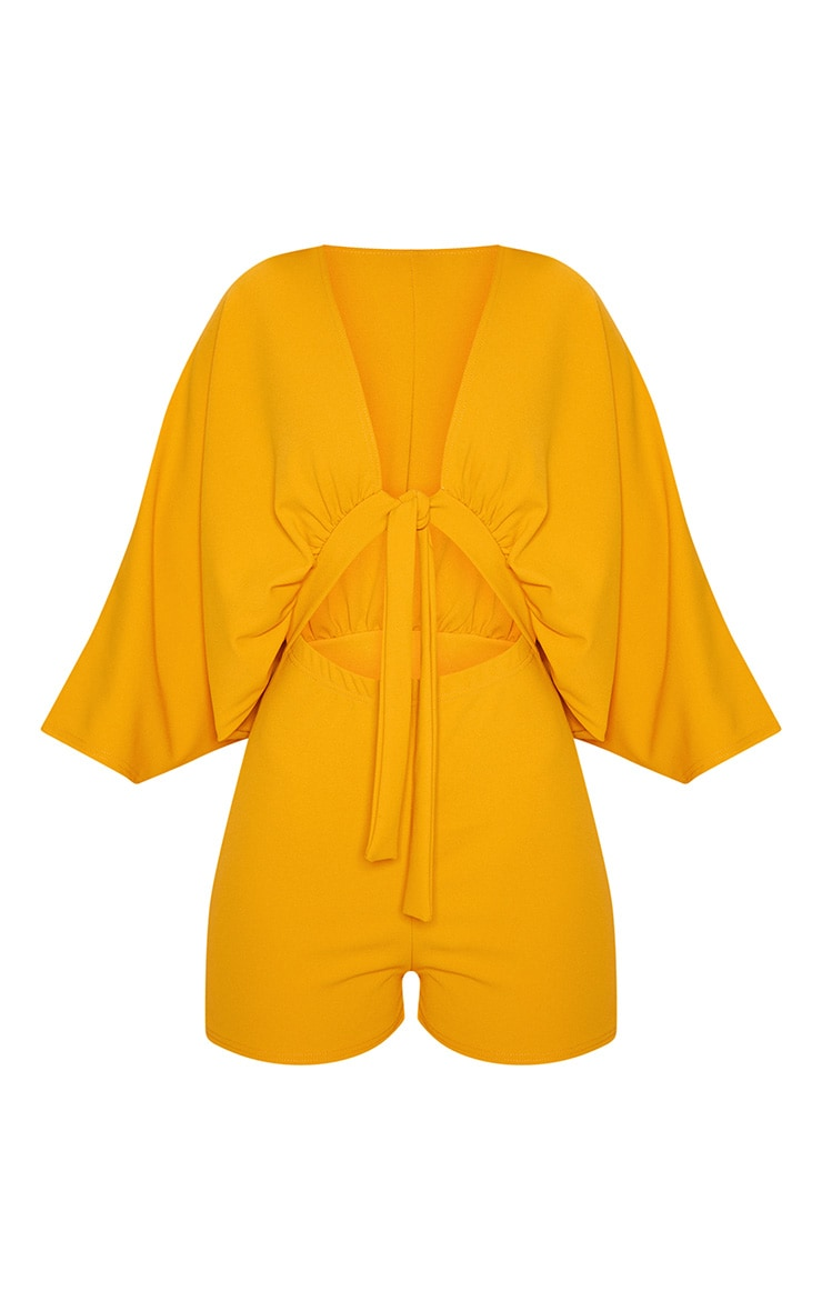 Mustard Crepe Batwing Cut Out Romper 3