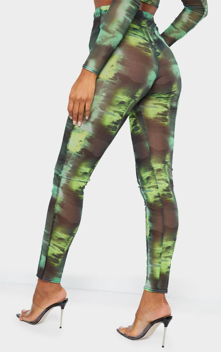 Green Abstract Water Colour Print Sheer Mesh Binding Long Sleeve Crop Top 3