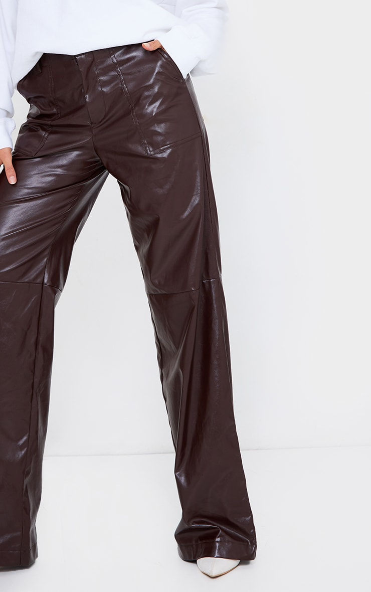 Chocolate Faux Leather Stitch Detail Wide Leg Trousers 4