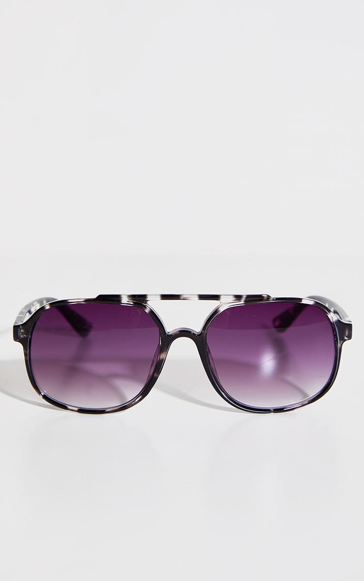Black Double Bar Round Frame Sunglasses 2