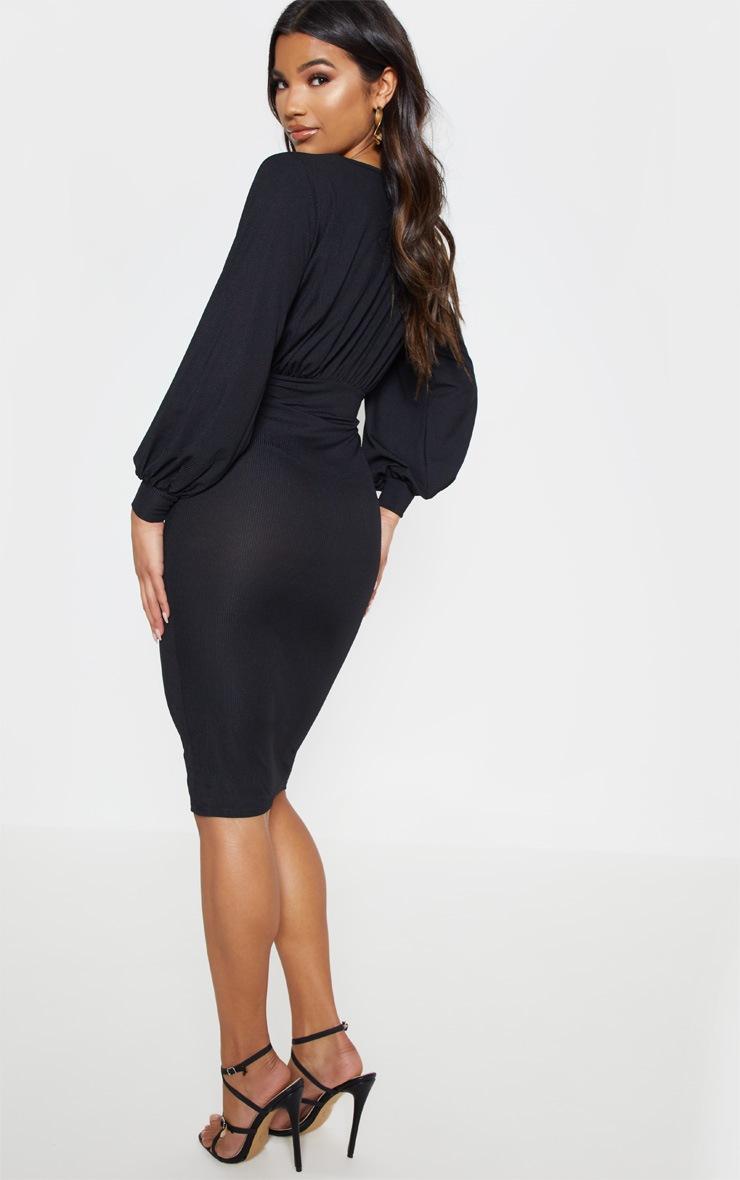 Black Rib Balloon Sleeve Midi Dress 2