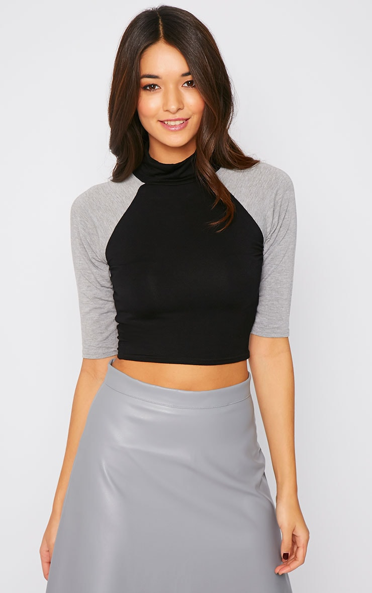 Dara Black and Grey Turtle Neck Crop Top  1