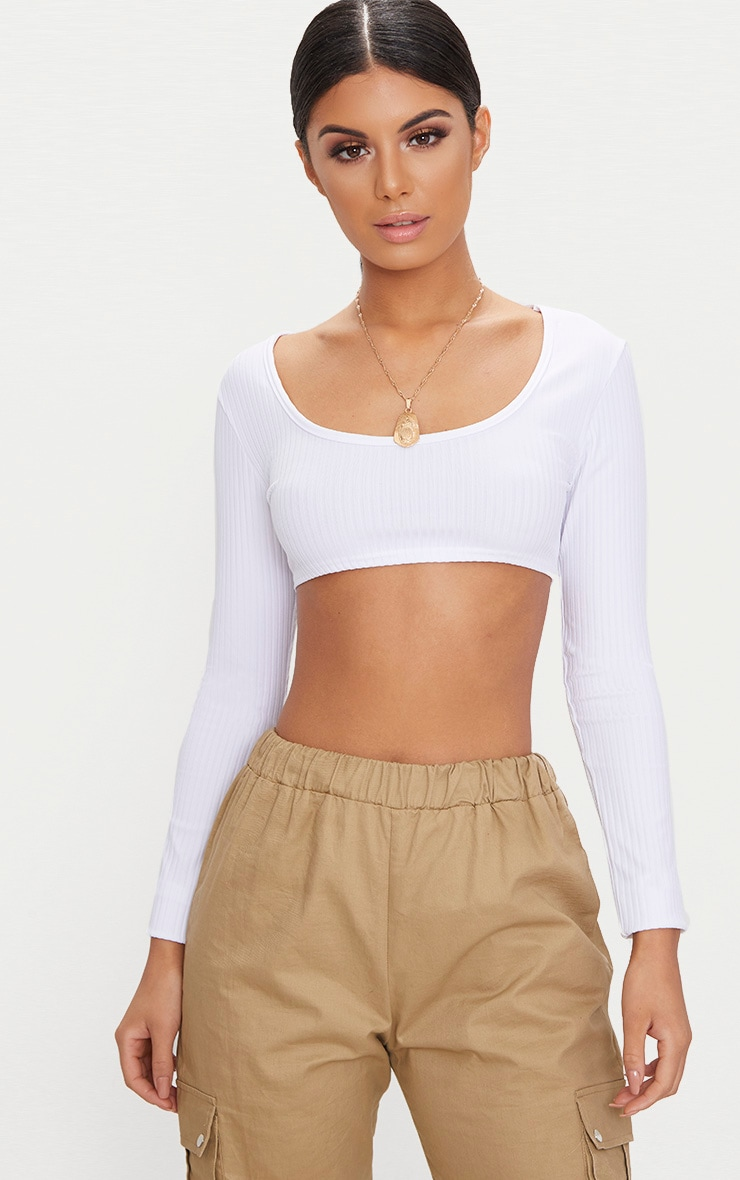 Basic White Rib Longsleeve Crop Top  1