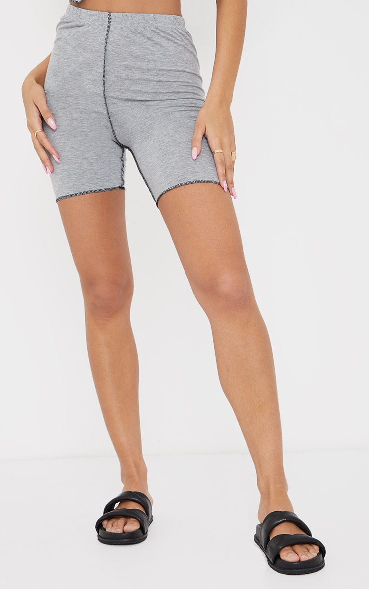 Grey Contrast Stitch Detail Cycle Shorts 2