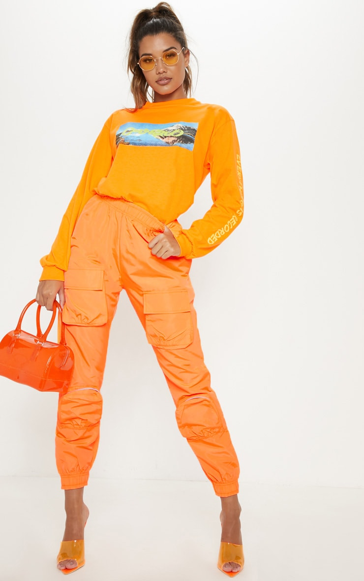 Neon Orange Shell 3D Pocket Detail Jogger  1