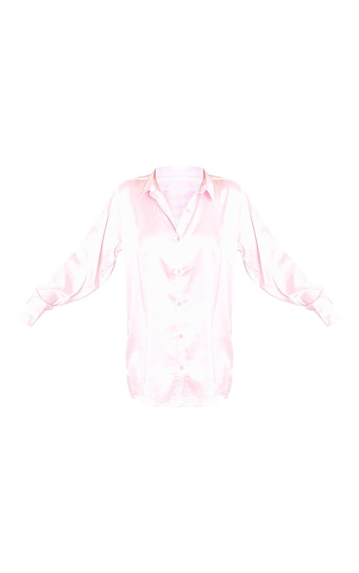 Pink Button Down Boxer Detail Short Satin PJ Set 5