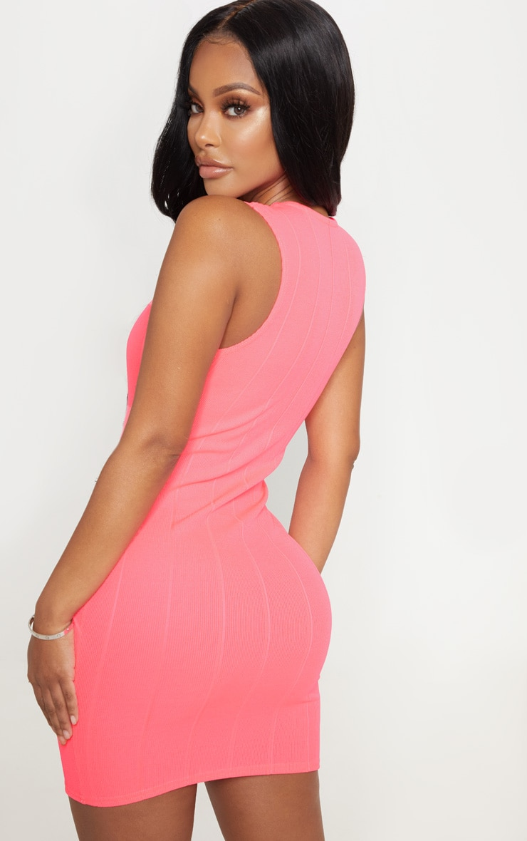 Shape Neon Pink Bandage Plunge Bodycon Dress 2