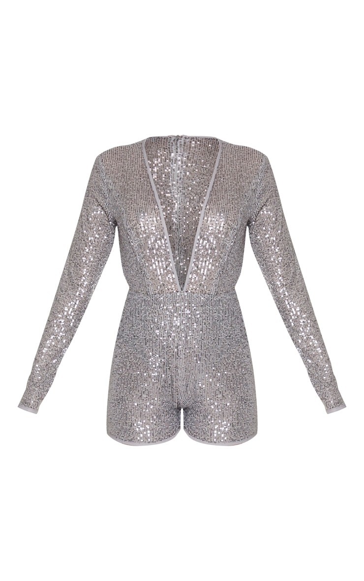 Grey Sequin Long Sleeve Plunge Playsuit 3