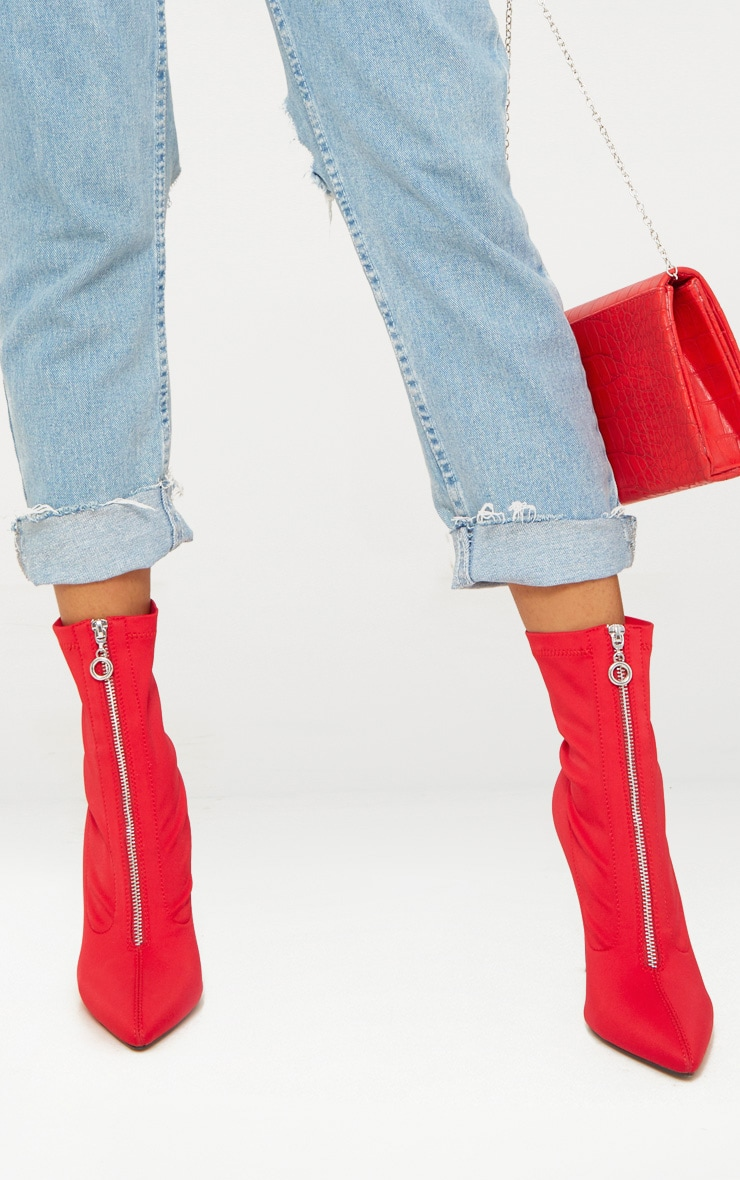 Red Lycra Zip Front Sock Boot