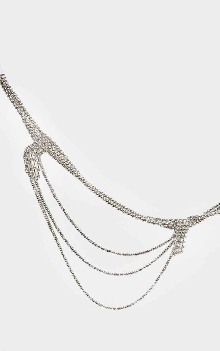 Silver Diamante Drop Layering Chain Belt 2
