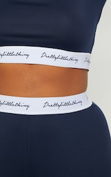 PRETTYLITTLETHING Plus Navy Band Long Sleeve Crop Top 5