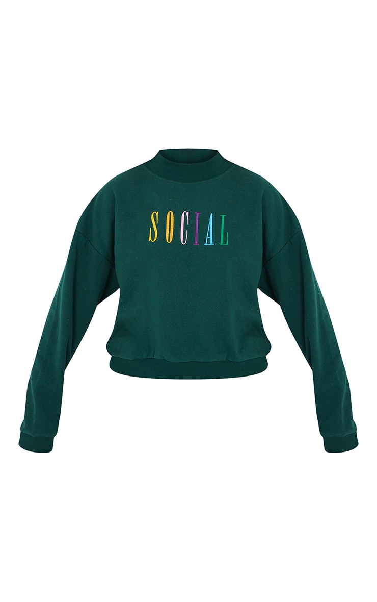 Forest Green Social Slogan Embroidered Fleece Sweater 5