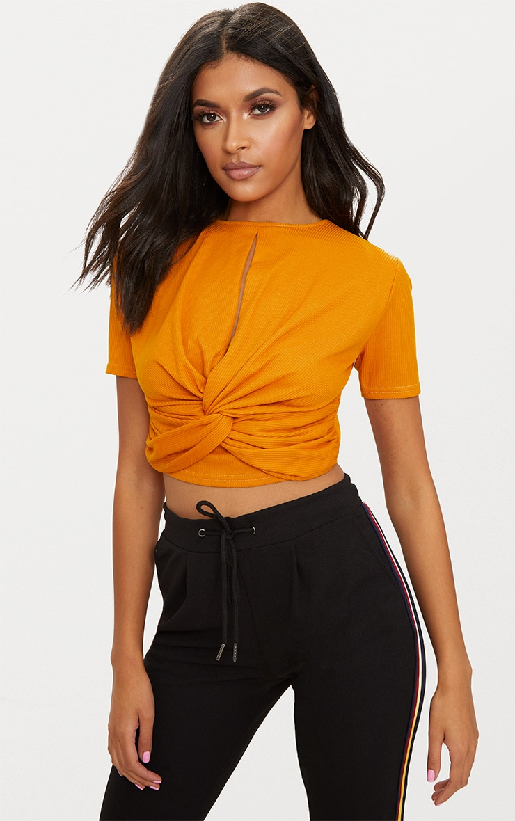 bce578ff4909b0 Mustard Rib Keyhole Knot Front Crop Top image 1