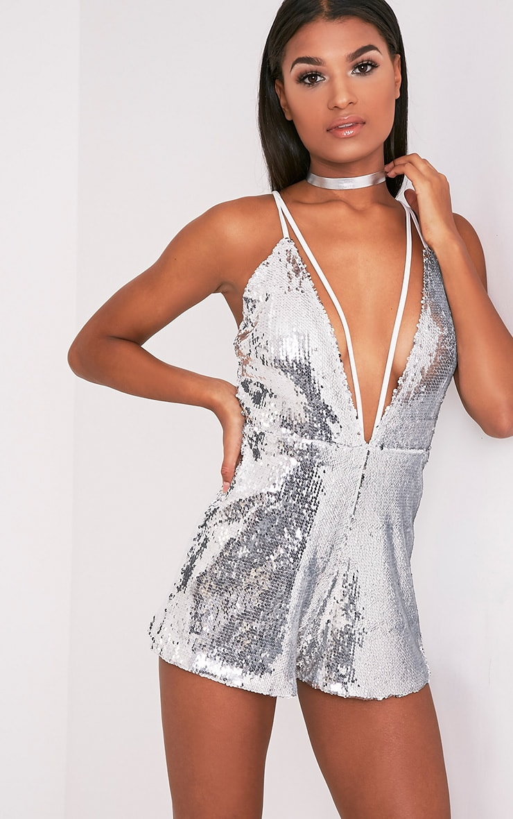 e2aaa2d8 Tarlia Silver Sequin Plunge Playsuit - Jumpsuits & Playsuits ...