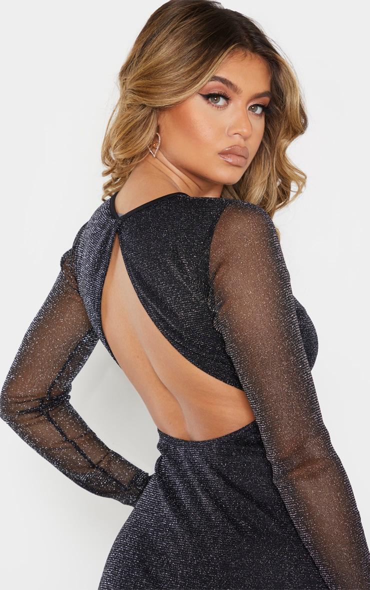 Black Glitter Backless Long Sleeve Maxi Dress 5