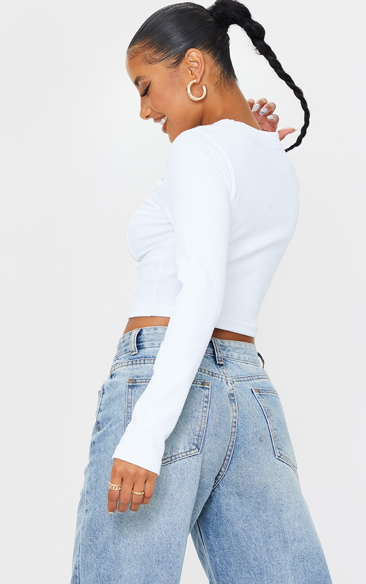 White Structured Rib Bust Cup Detail Cut Out Long Sleeve Crop Top 2
