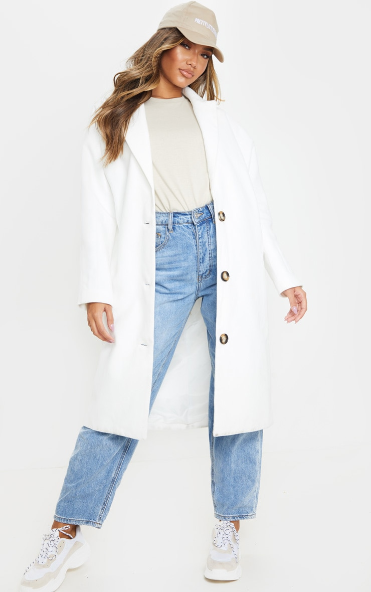 Cream Boyfriend Oversized Midi Coat 1