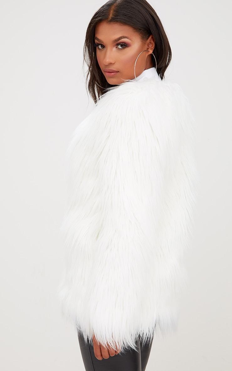 Cream Shaggy Faux Fur Jacket 2