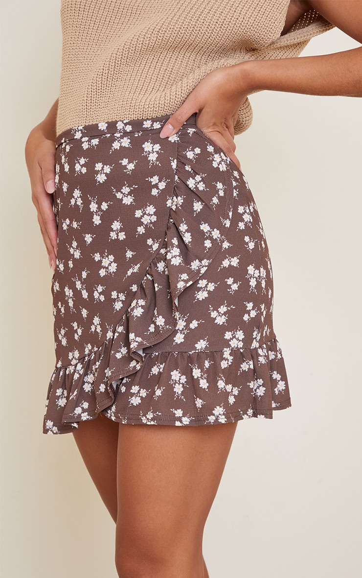 Brown Ditsy Floral Print Frill Hem Wrap Mini Skirt 5
