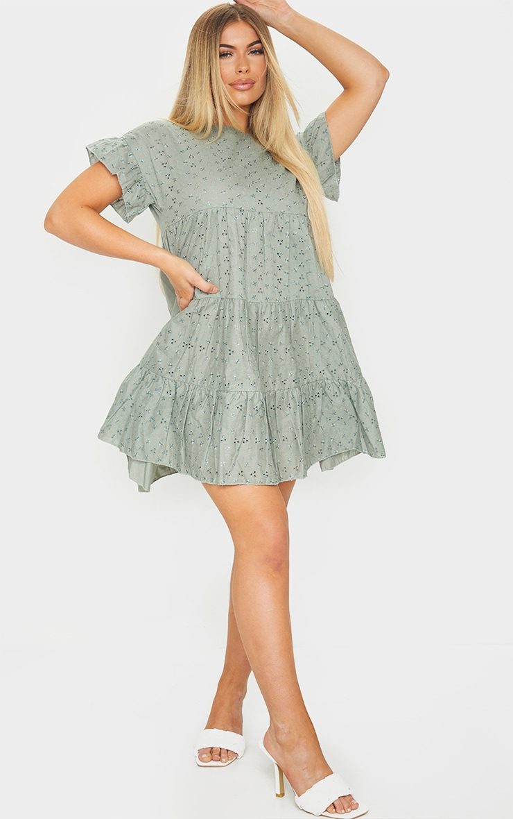 Sage Green Broderie Anglaise Smock Dress 3