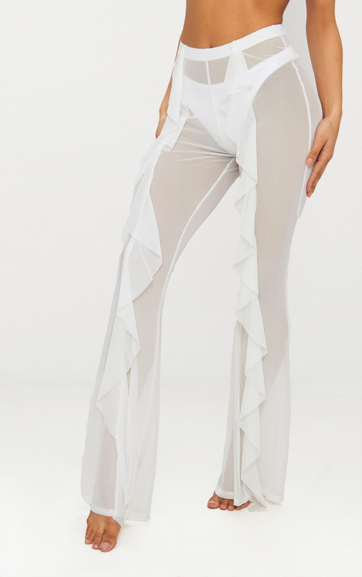 White Frill Front Mesh Beach Trouser 2