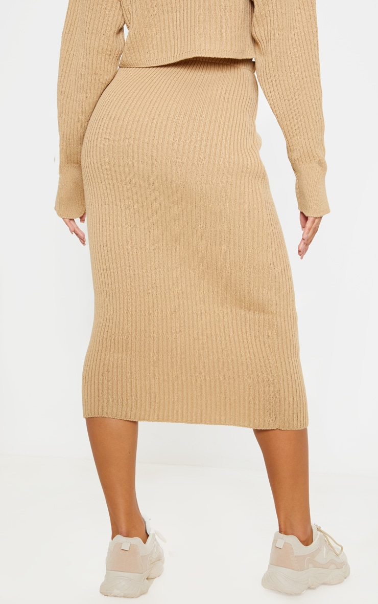 Stone Ribbed Knitted Midi Skirt 4