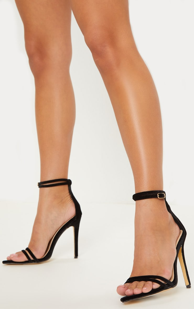 Black Velvet Point Toe Strappy Sandal 1
